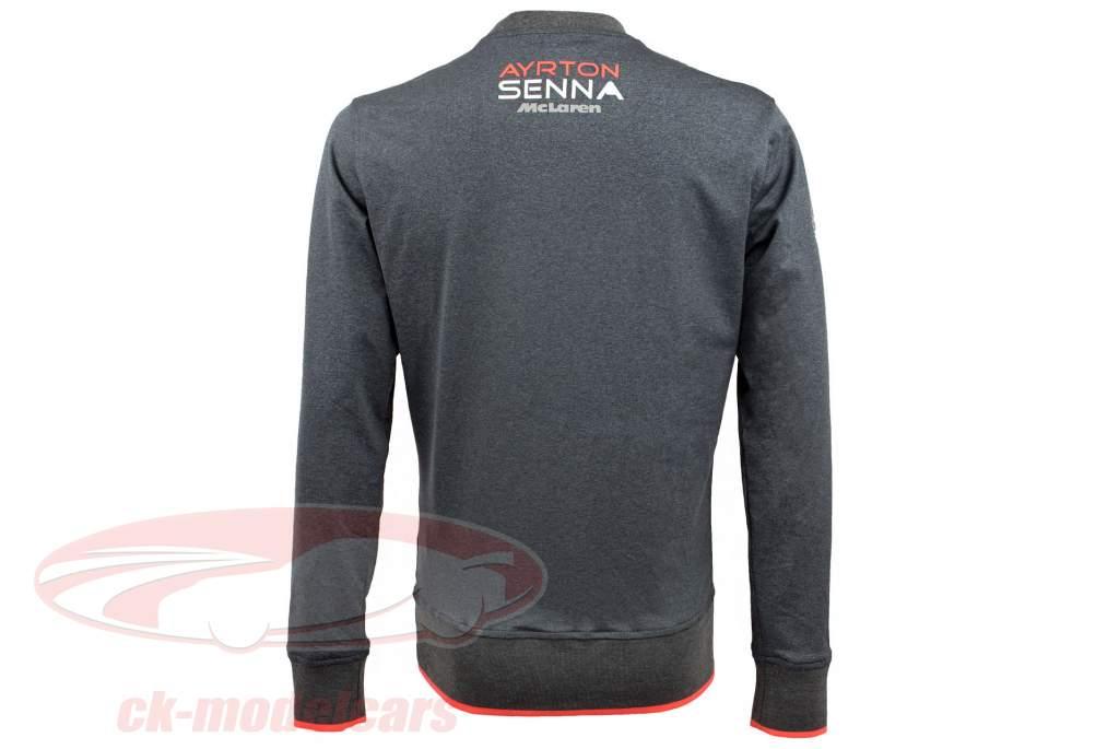 Ayrton Senna bluse McLaren 3 Times World Champion Grå