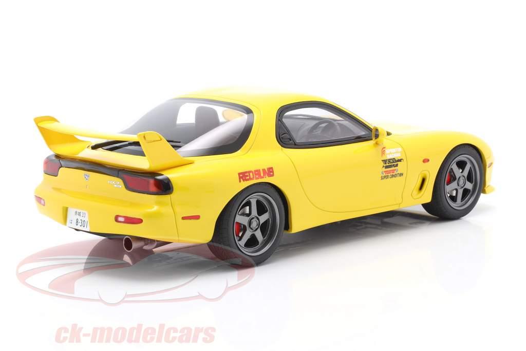 Mazda RX-7 FD3S Film New Initial D Con figura giallo 1:18 Kyosho