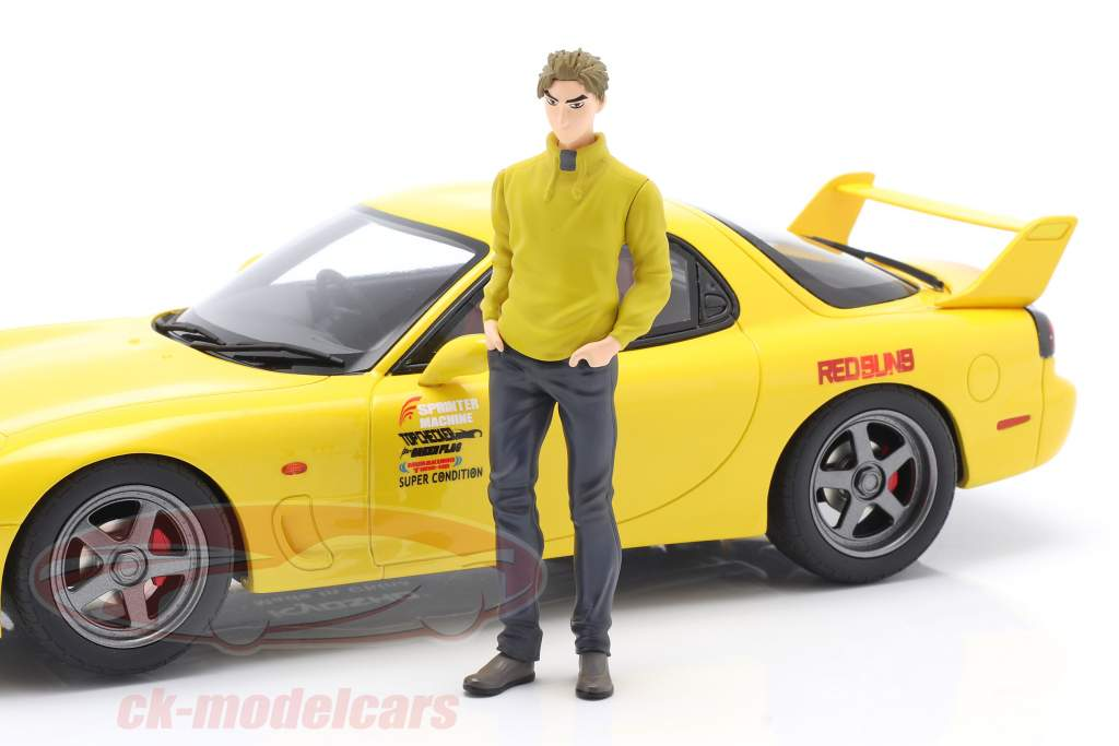 Mazda RX-7 FD3S film New Initial D Med figur gul 1:18 Kyosho