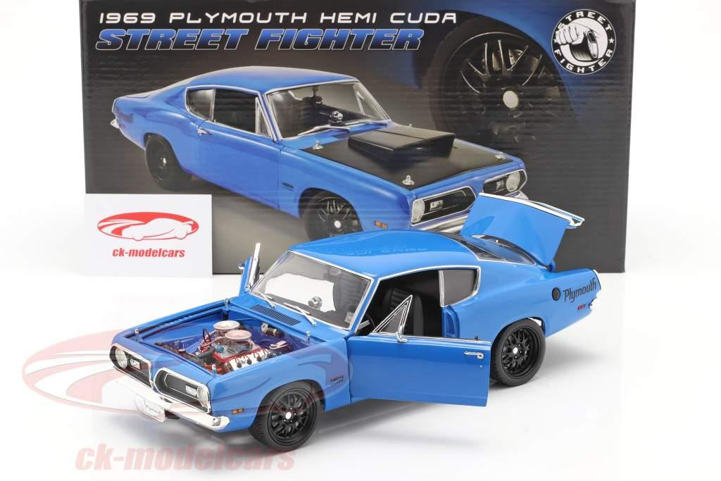 Plymouth Hemi Cuda Street Fighter Baujahr 1969 blau 1:18 GMP
