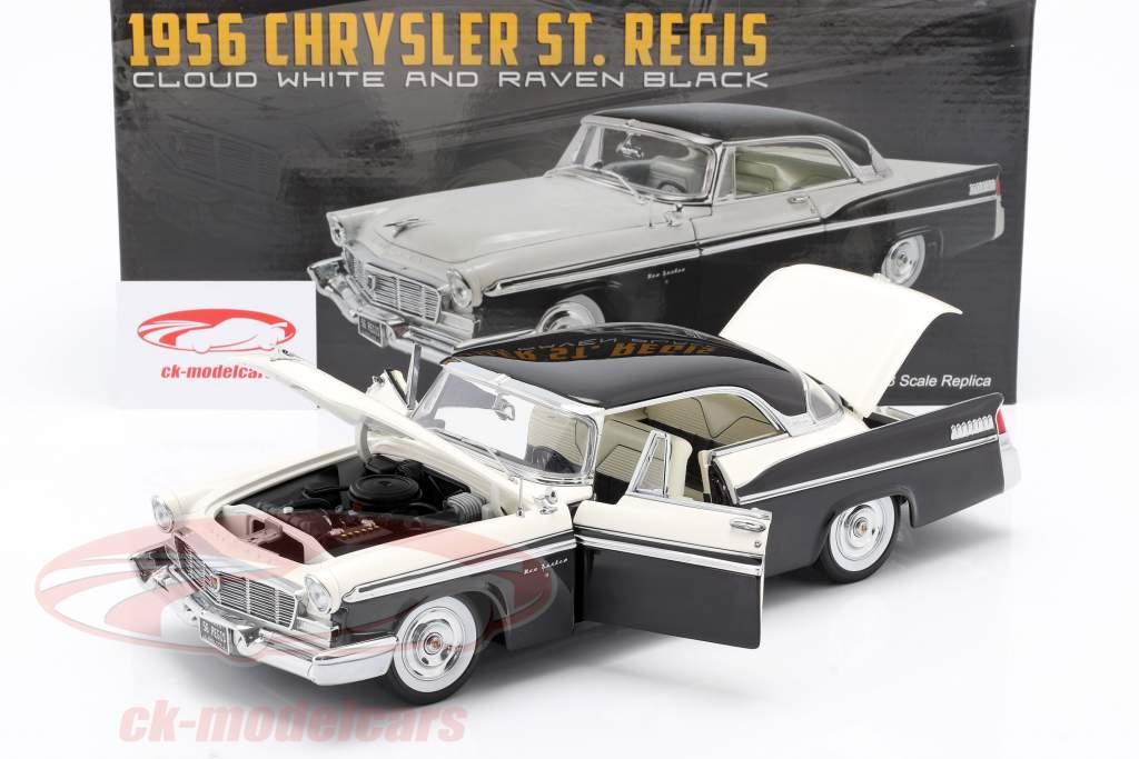 Chrysler St. Regis Bouw jaar 1956 wolk wit / raaf zwart 1:18 GMP
