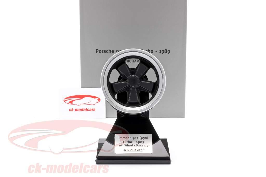 Porsche 911 (930) Turbo Wheel Rim Año de construcción 1989 negro / plata 1:5 Minichamps