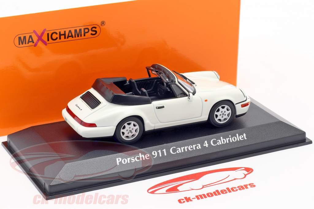 Porsche 911 Carrera 4 Cabriolet jaar 1990 White 1:43 Minichamps