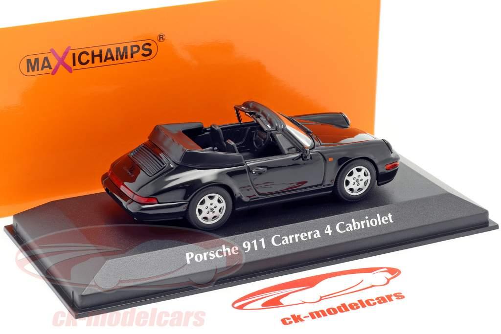 Porsche 911 Carrera 4 Cabriolet år 1990 sort 1:43 Minichamps