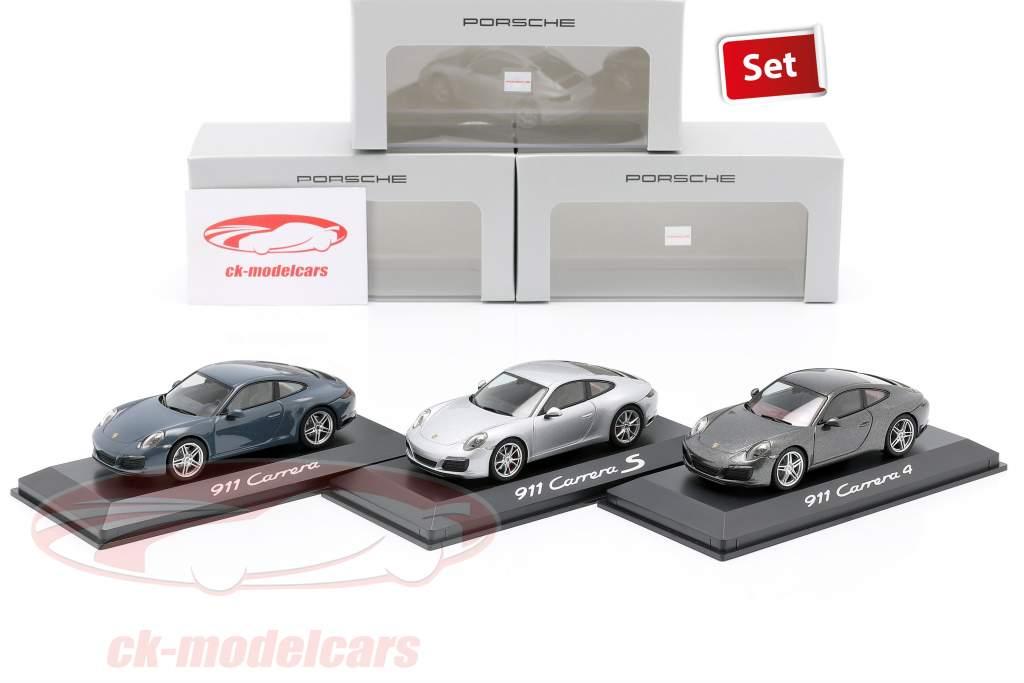 3 wagens set Porsche 911 (991 II) Carrera 2016 grafietblauw / zilver / Grijs 1:43 Herpa