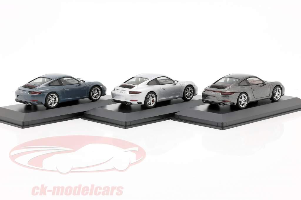 3 coches conjunto Porsche 911 (991 II) Carrera 2016 azul grafito / plata / gris 1:43 Herpa