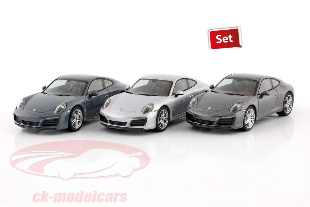 3-car set Porsche 911 (991 II) Carrera 2016 graphite blue / silver / grey 1:43 Herpa
