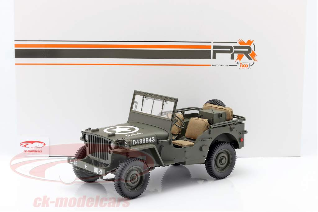 Jeep Willys MB con trailer e M3 Pistola anticarro 1943 oliva 1:8 Premium X