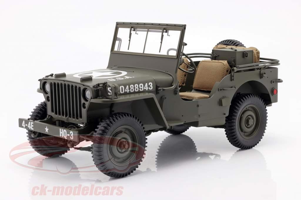 Jeep Willys MB avec Bande annonce et M3 Canon antichar 1943 olive 1:8 Premium X