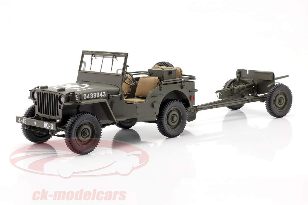 Jeep Willys MB mit Anhänger und M3 Panzerabwehrgeschütz 1943 oliv 1:8 Premium X
