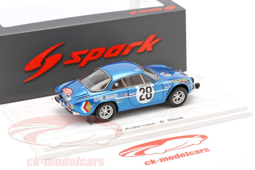 Alpine A110 #28 vinder Rallye Monte Carlo 1971 Andersson, Stone 1:43 Spark