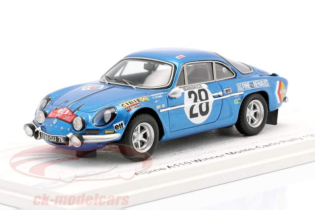 Alpine A110 #28 winnaar Rallye Monte Carlo 1971 Andersson, Stone 1:43 Spark