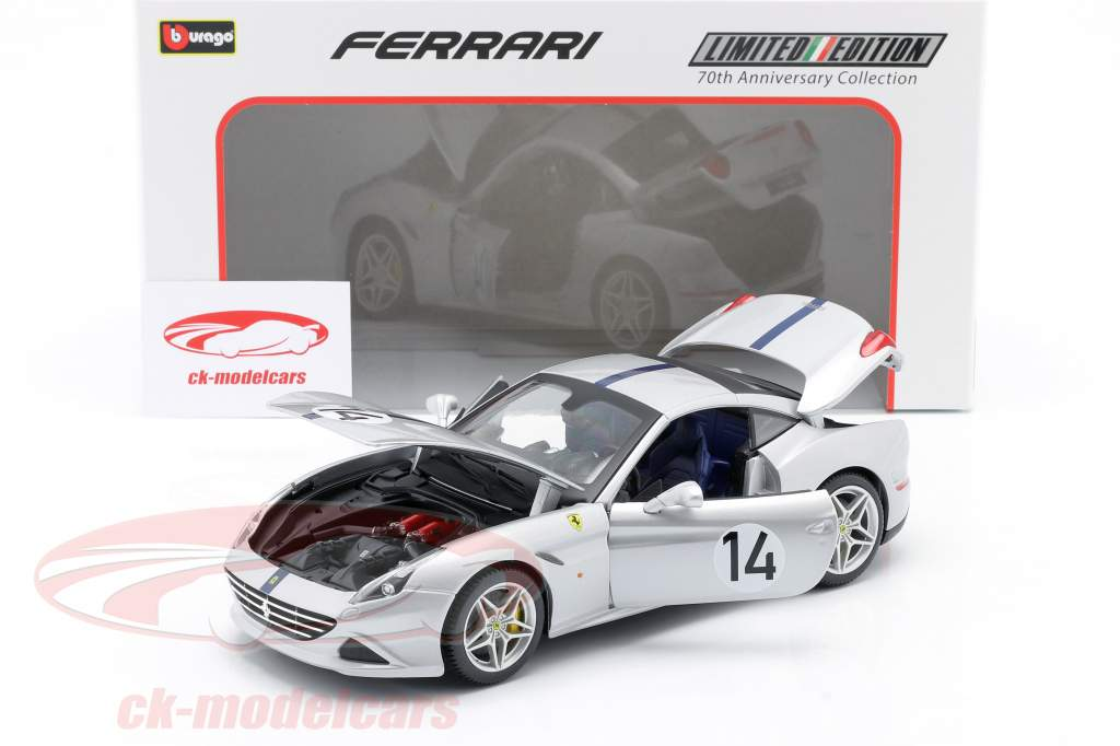 Ferrari California T #14 The Hot Rod 70 ° Anniversary Collection argento 1:18 Bburago