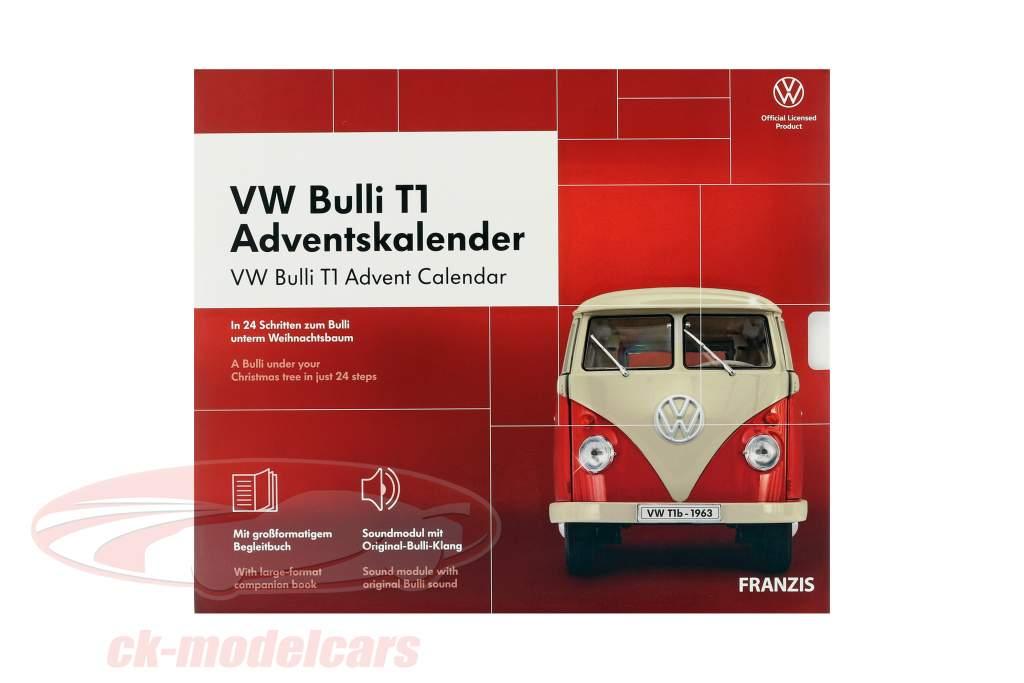 VW Bulli T1 advent Calendar 2020: Volkswagen VW Bulli T1 red 1:43 Franzis
