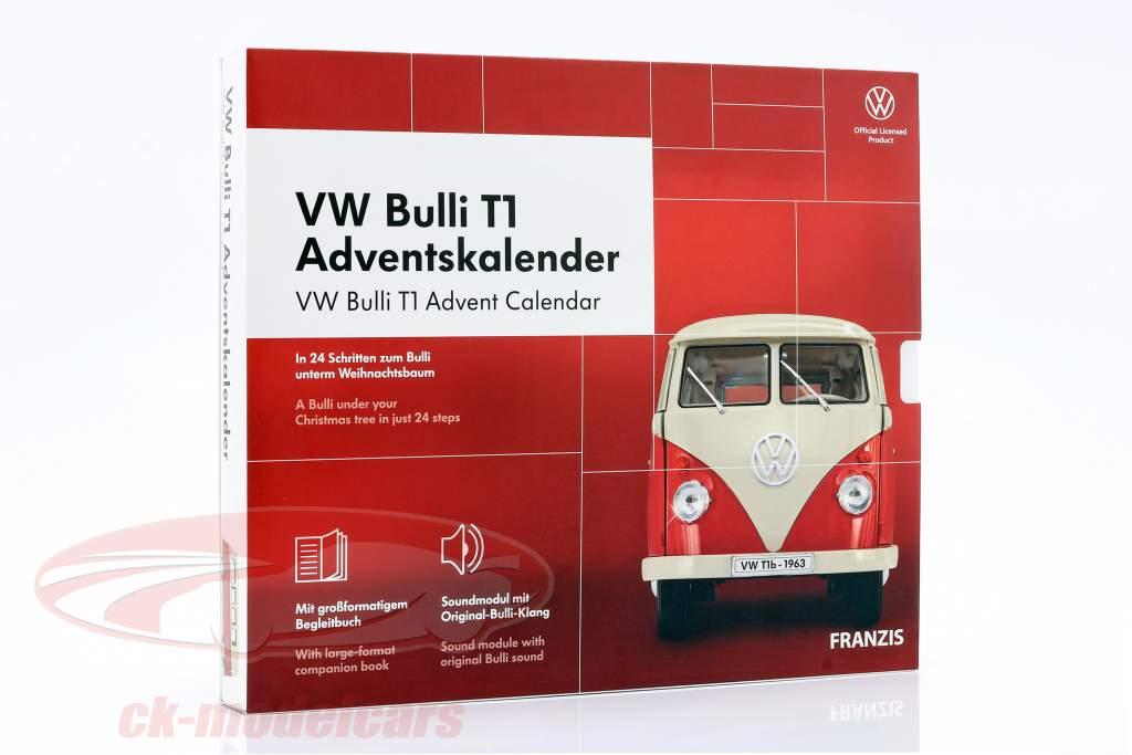 VW Bulli T1 adventskalender 2020: Volkswagen VW Bulli T1 rød 1:43 Franzis