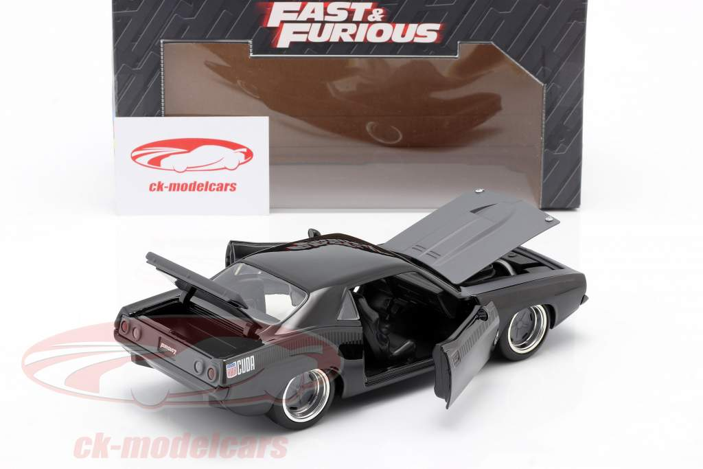 Letty's Plymouth Barracuda 1970 Fast & Furious 7 (2015) zwart 1:24 Jada Toys