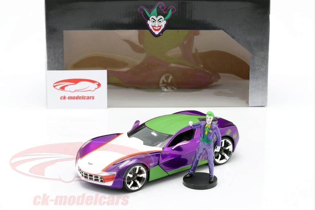 Chevrolet Corvette Stingray 2009 Med figur The Joker DC Comics 1:24 Jada Toys