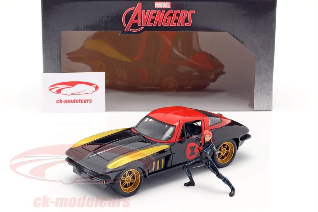 Chevrolet Corvette 1966 Com figura Black Widow Marvel Avengers 1:24 Jada Toys