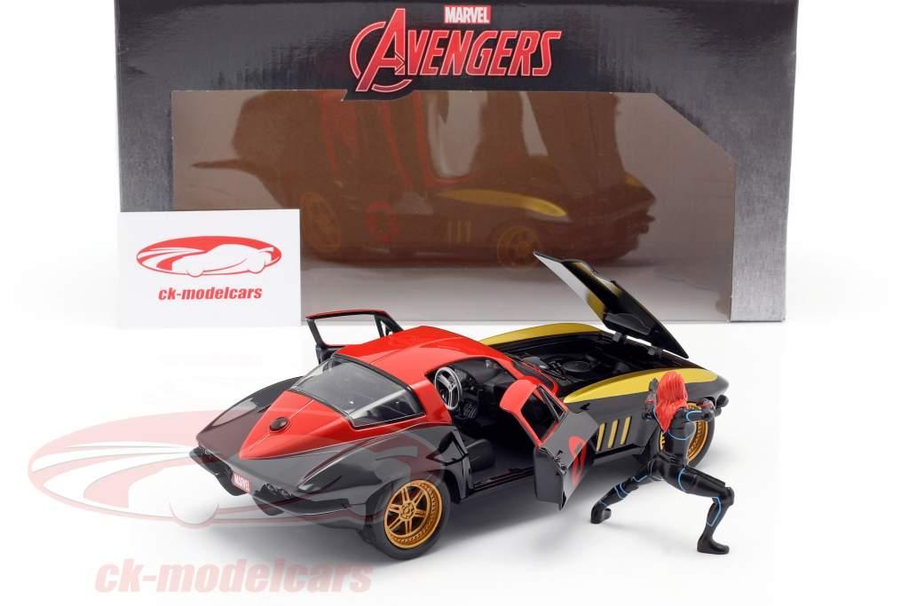 Chevrolet Corvette 1966 Con figura Black Widow Marvel Avengers 1:24 Jada Toys