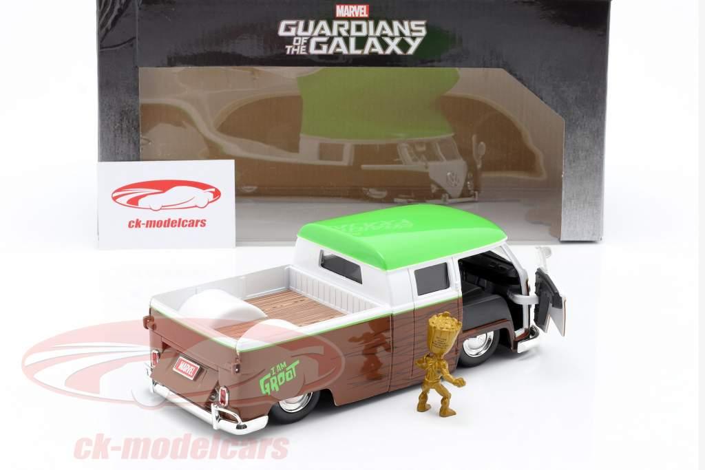 Volkswagen VW Bus PickUp 1963 Com figura Groot Marvel Guardians 1:24 Jada Toys
