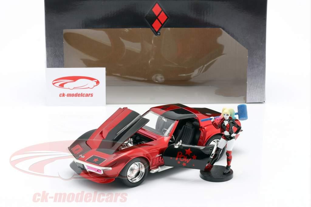 Chevrolet Corvette Stingray 1969 Con figura Harley Quinn DC Comics 1:24 Jada Toys