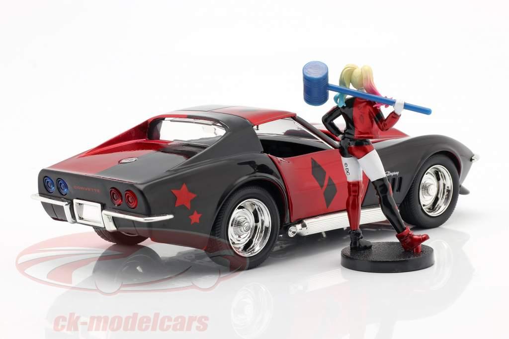 Chevrolet Corvette Stingray 1969 Com figura Harley Quinn DC Comics 1:24 Jada Toys