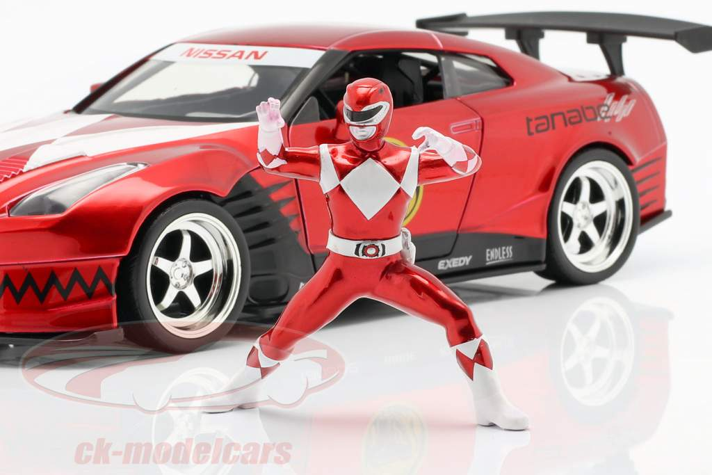 Nissan GT-R (R35) 2009 Com figura Red Ranger Power Rangers 1:24 Jada Toys