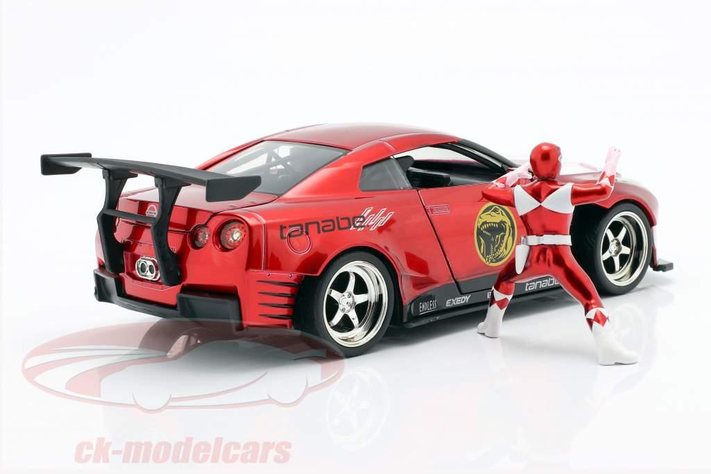 Nissan GT-R (R35) 2009 Con figura Red Ranger Power Rangers 1:24 Jada Toys