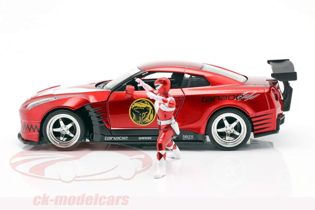 Nissan GT-R (R35) 2009 with figure Red Ranger Power Rangers 1:24 Jada Toys