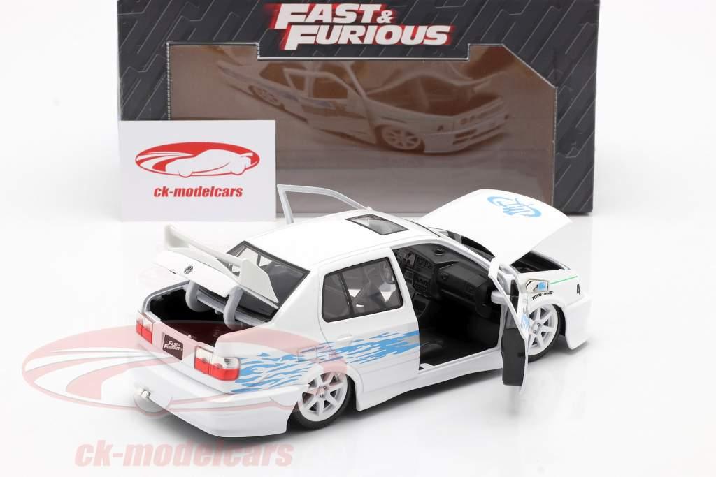 Jesse's Volkswagen VW Jetta A3 fra den film Fast & Furious 2001 hvid / blå 1:24 Jada Toys