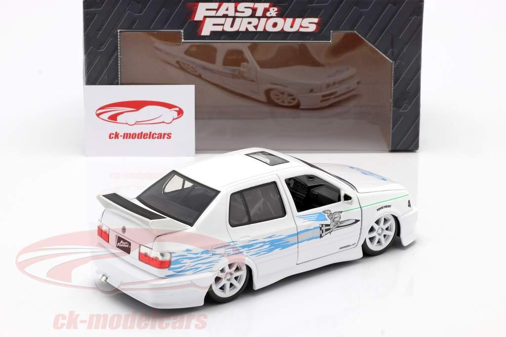Jesse's Volkswagen VW Jetta A3 da il film Fast & Furious 2001 bianco / blu 1:24 Jada Toys
