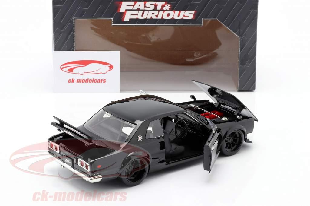 Brian's Nissan Skyline 2000 GTR filme Fast & Furious Five (2011) preto 1:24 Jada Toys