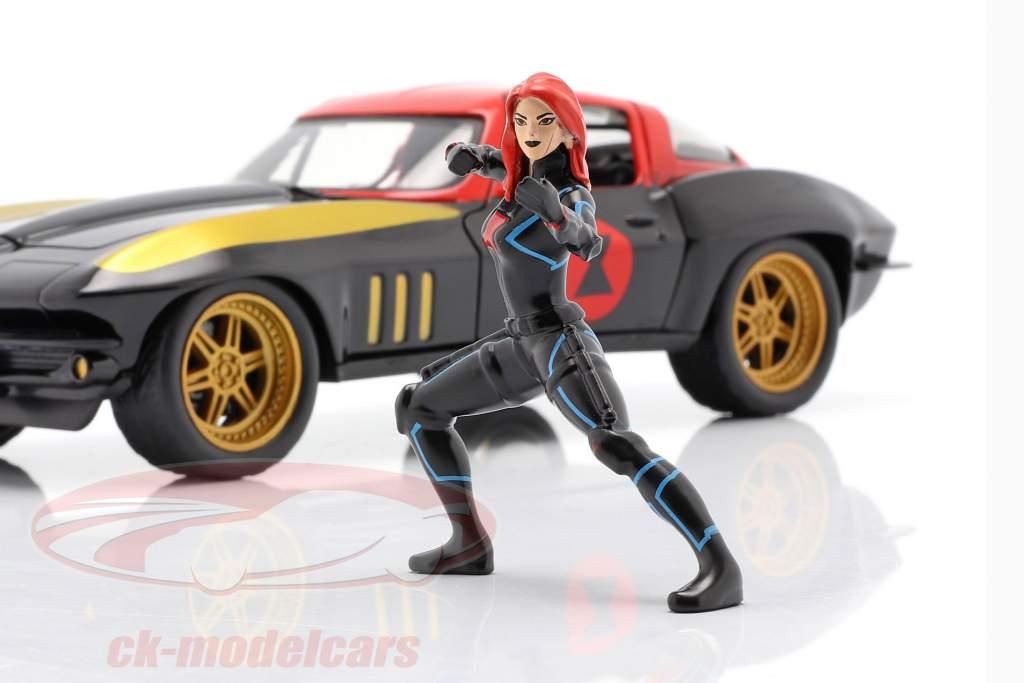 Chevrolet Corvette 1966 with figure Black Widow Marvel Avengers 1:24 Jada Toys