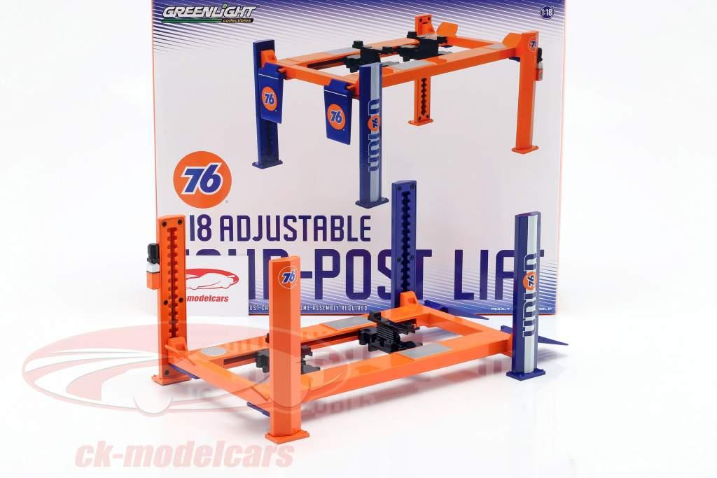 Adjustable four-post Lift Union 76 blue / orange 1:18 Greenlight