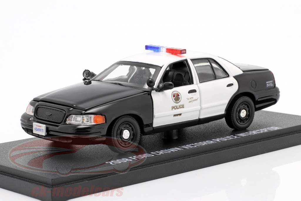 Ford Crown Victoria Police Interceptor 2008 The Rookie negro / Blanco 1:43 Greenlight