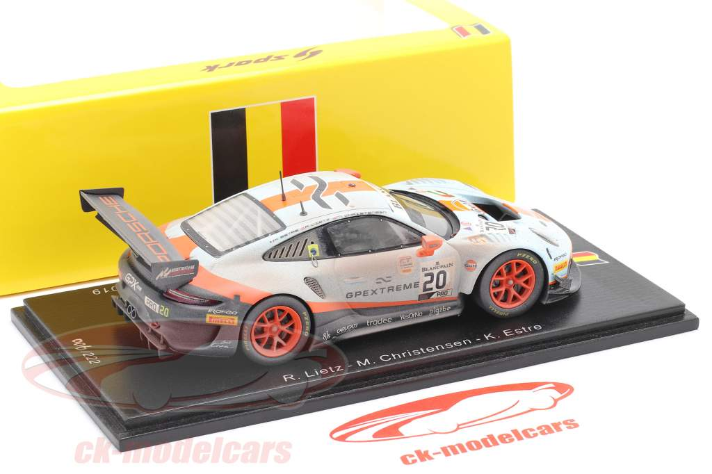 Porsche 911 GT3 R #20 vinder 24h Spa 2019 Finish Line Dirty Version 1:43 Spark