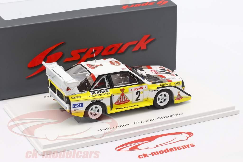 Audi Quattro S1 #2 Cuarto Rallye Monte Carlo 1986 Röhrl, Geistdörfer 1:43 Spark