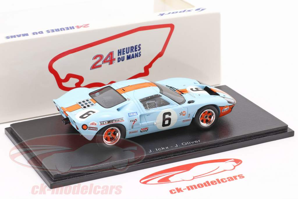 Ford GT40 Gulf #6 vinder 24h LeMans 1969 Ickx, Oliver 1:43 Spark