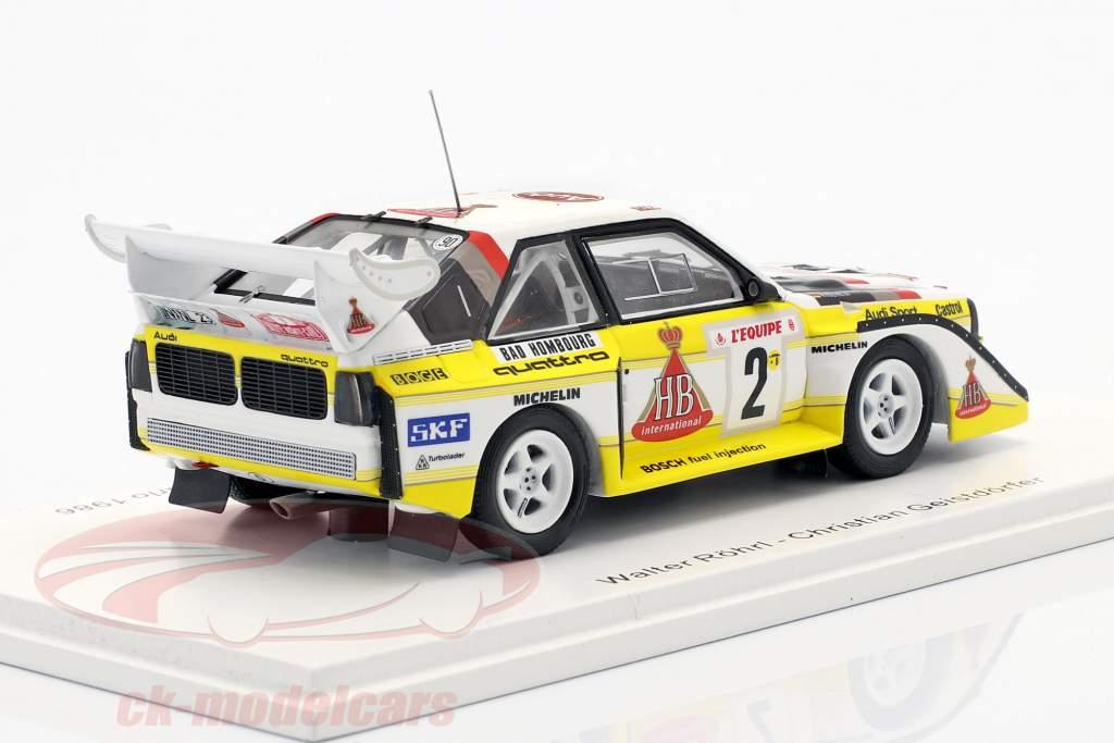 Audi Quattro S1 #2 4 ° Rallye Monte Carlo 1986 Röhrl, Geistdörfer 1:43 Spark