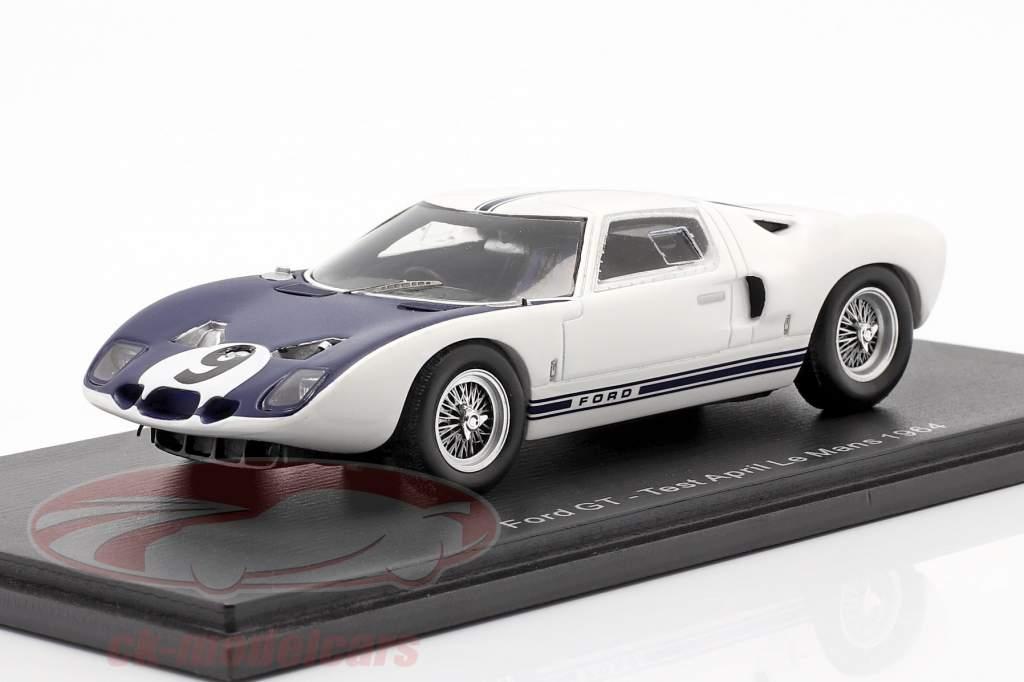 Ford GT #9 prueba abril LeMans 1969 Jo Schlesser 1:43 Spark