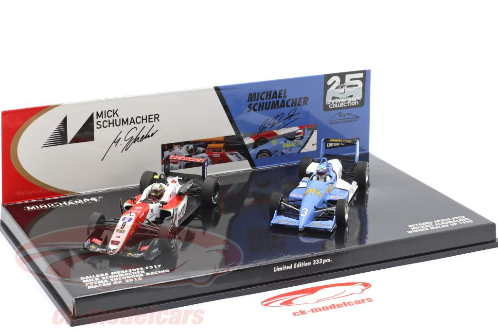 2-Car Set Michael & Mick Schumacher winnaar Macau F3 1990 & 2018 1:43 Minichamps