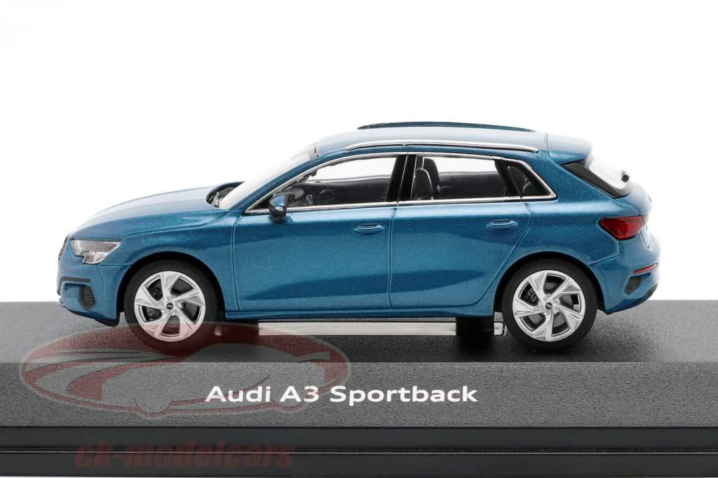 Audi A3 Sportback Ano 2020 atol azul 1:43 iScale