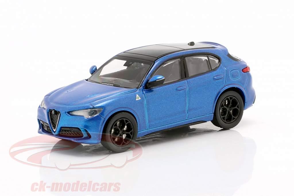Alfa Romeo Stelvio Quadrifoglio jaar 2018 blauw metalen 1:87 Minichamps