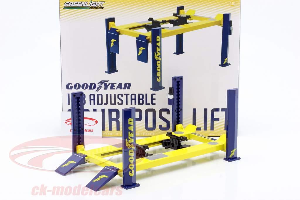 Justerbar fire-post Løfteplatform Goodyear gul / blå 1:18 Greenlight