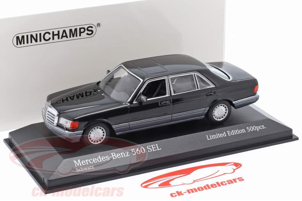 Mercedes-Benz 560 SEL (W126) Byggeår 1990 sort 1:43 Minichamps