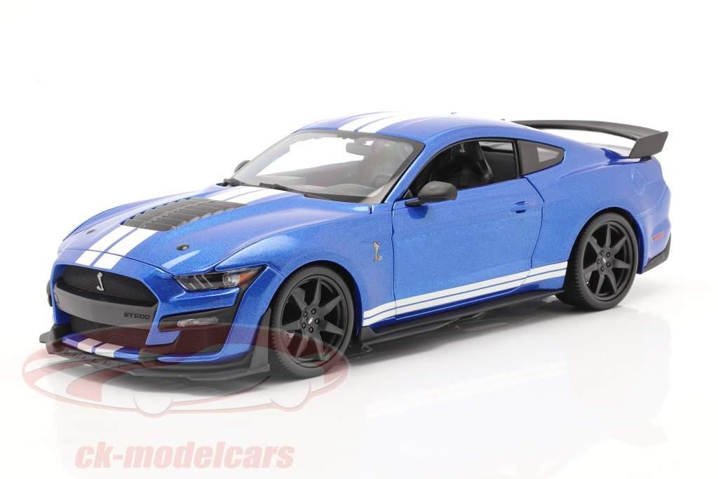 Ford Mustang Shelby jaar 2020 blauw 1:18 Maisto