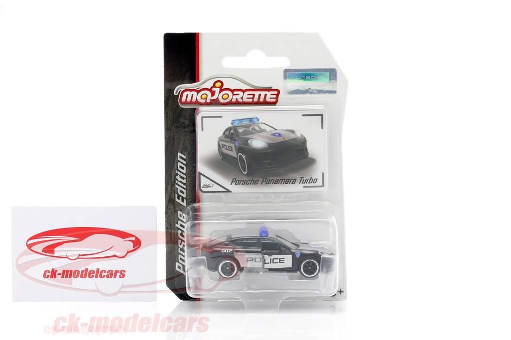 Porsche Panamera Turbo policía negro / plata 1:64 Majorette