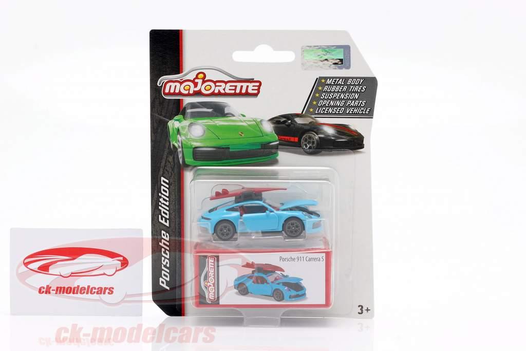 Porsche 911 S coupe with surfboard light blue 1:64 Majorette