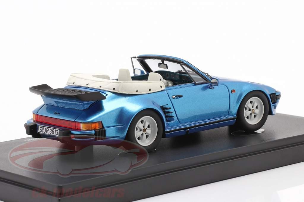 Porsche 911 SE Flatnose Cabrio Byggeår 1988 blå metallisk 1:43 AutoCult