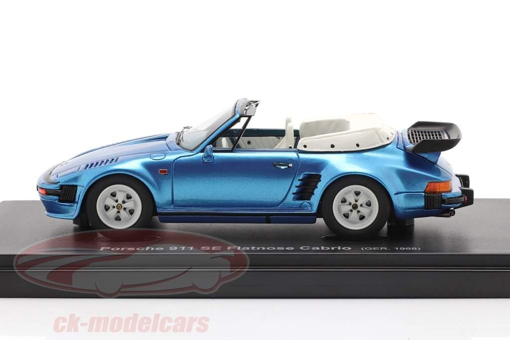 Porsche 911 SE Flatnose Cabrio Année de construction 1988 bleu métallique 1:43 AutoCult